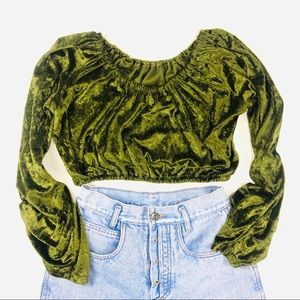 90S YUMMY GREEN FESTIVAL STRETCHY VELVET CROP TOP